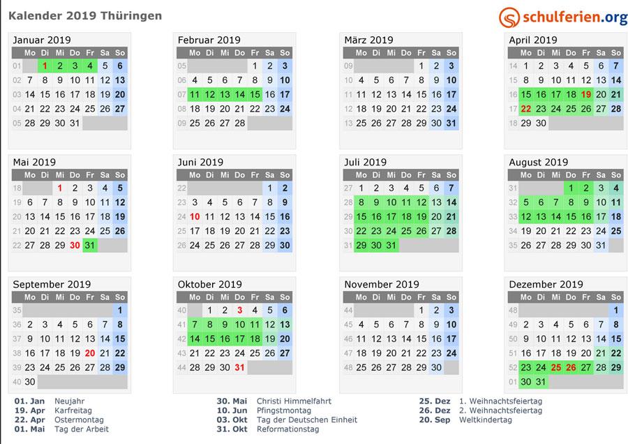 Kalender, Ferien,